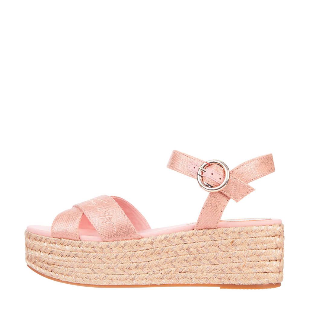 Tommy Hilfiger TH Signature Flatform Sandal  leren plateau sandalen roze, Roze