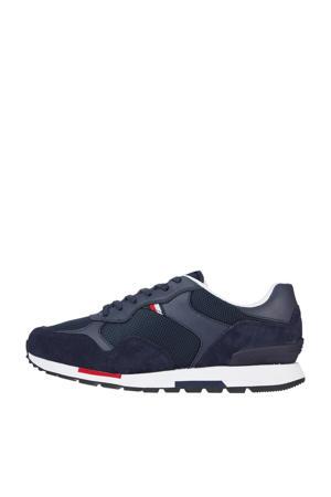 Retro Runner Mix  suède sneakers donkerblauw