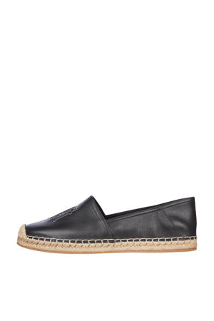 Feminine Leather  espadrilles zwart