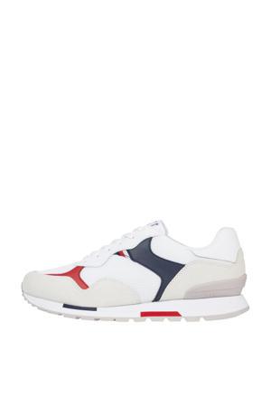 Retro Runner Mix  suède sneakers wit