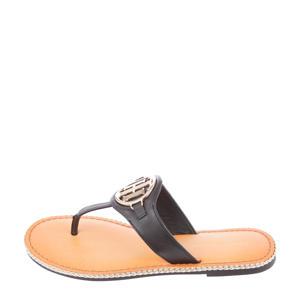 Essential Leather Flat Sandal  leren teenslippers zwart