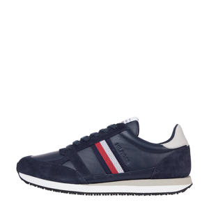 Runner Lo Leather Stripes  leren sneakers donkerblauw