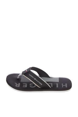 Message Footbed Beach Sandal  teenslippers zwart