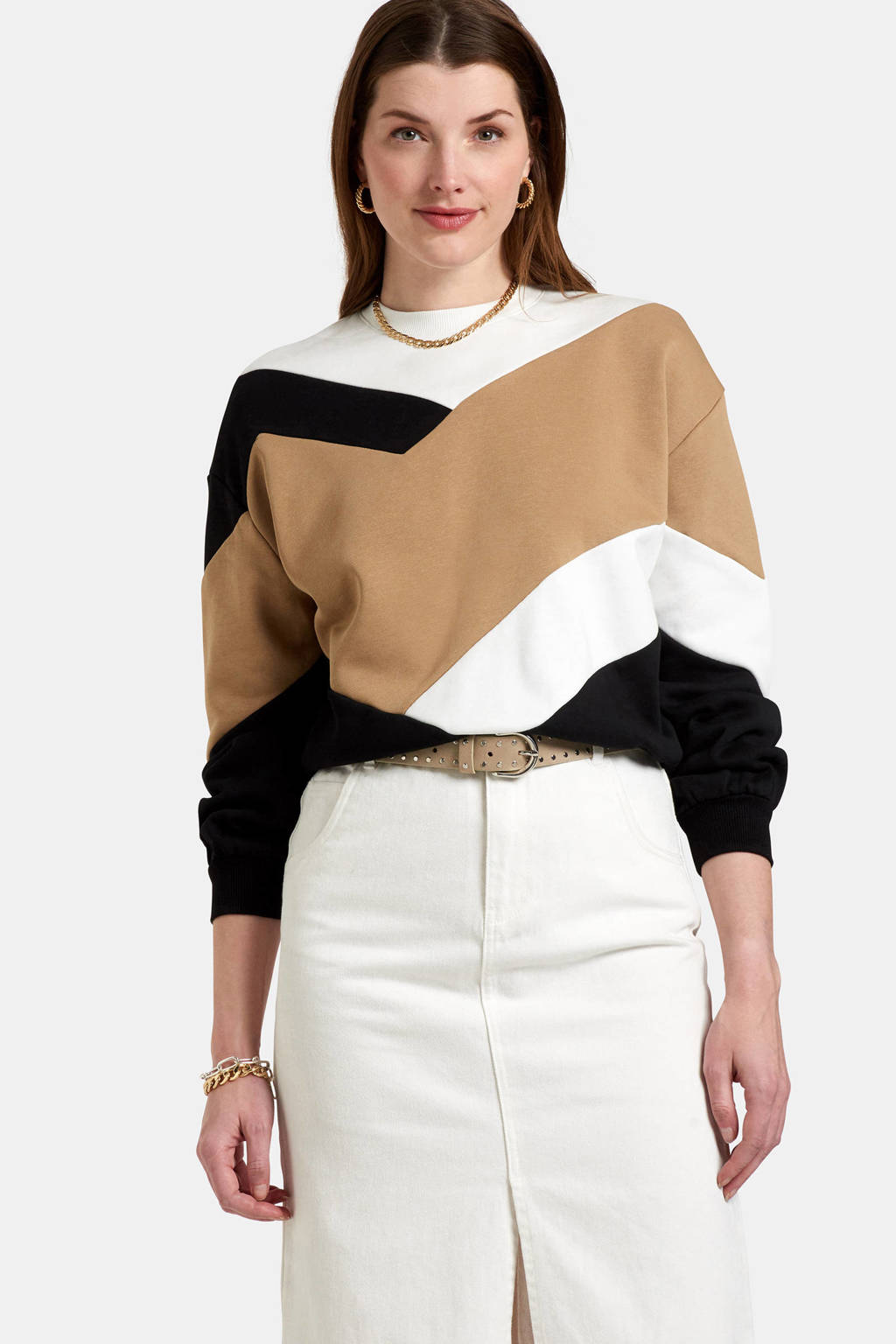 Eksept by Shoeby colourblock sweater Lieke zwart/camel, Zwart/camel/wit