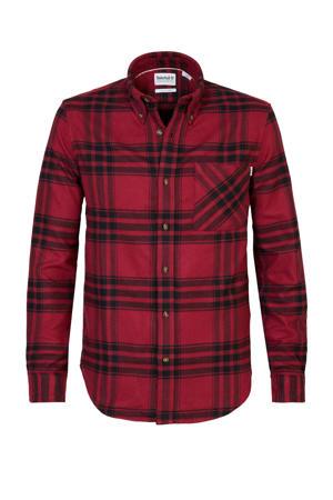 geruit flanellen regular fit overhemd rood/zwart