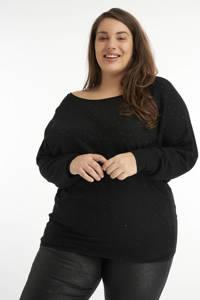 MS Mode trui met vleermuismouwen zwart, Zwart