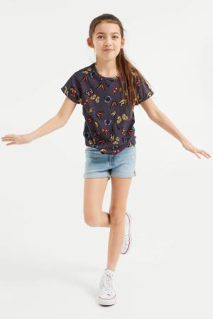 T-shirt met all over print en borduursels antraciet/oranje/geel