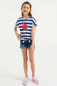 WE Fashion gestreept T-shirt blauw/wit/roze, Blauw/wit/roze