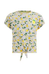 WE Fashion T-shirt met fruitprint geel/groen/wit/zwart, Geel/groen/wit/zwart
