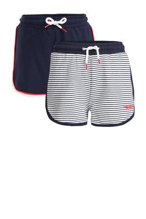 sweatshort - set van 2 donkerblauw/wit