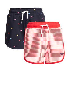 sweatshort - set van 2 donkerblauw/rood