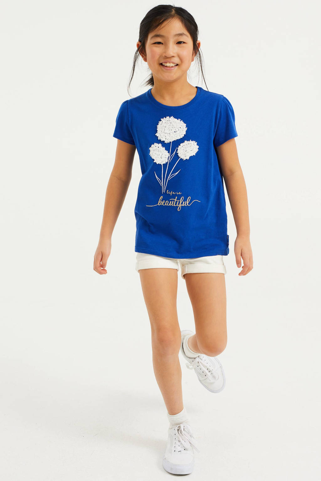 WE Fashion T-shirt met printopdruk en borduursels blauw/wit, Blauw/wit