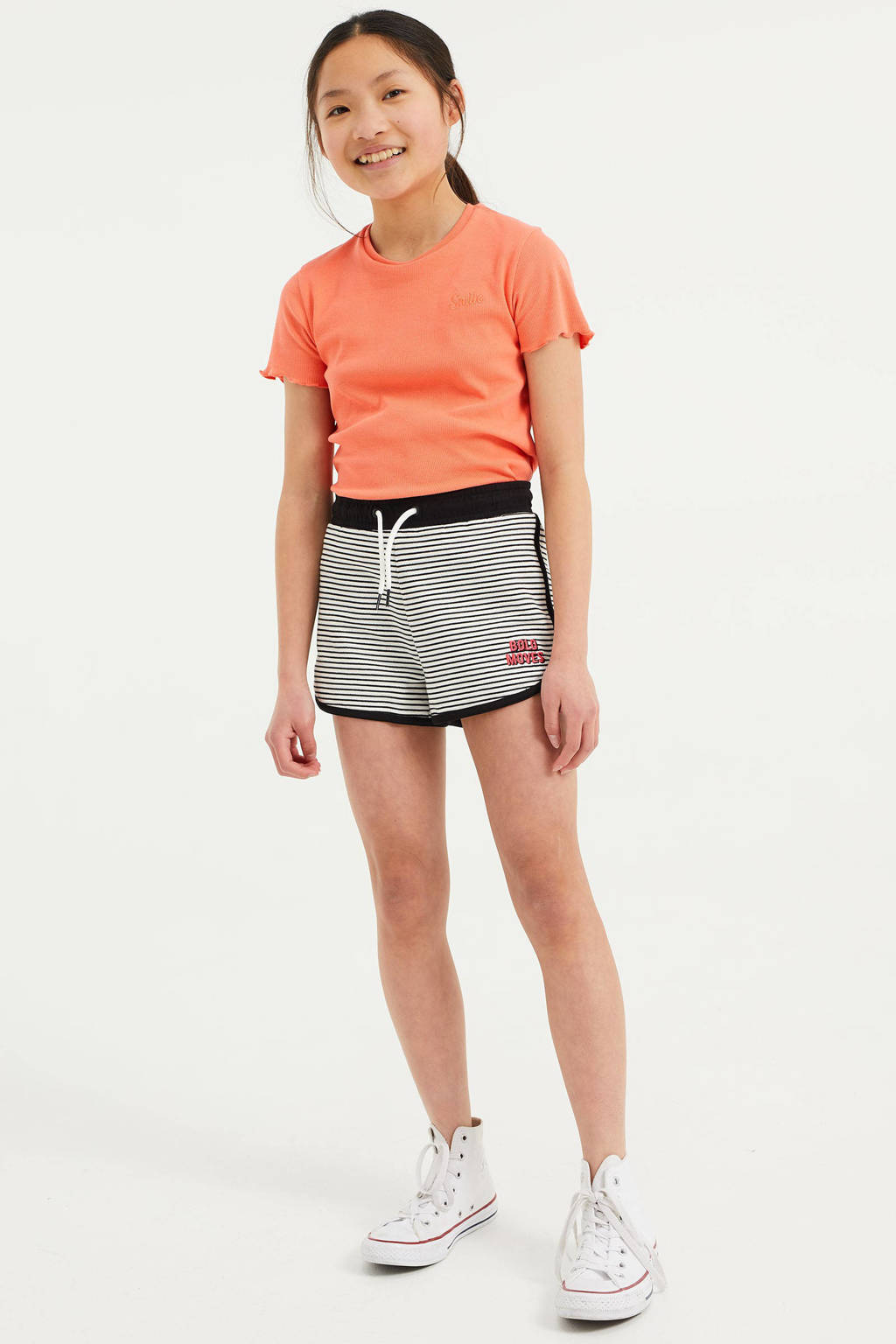 WE Fashion sweatshort - set van 2 zwart/wit/oranje, Zwart/wit/oranje