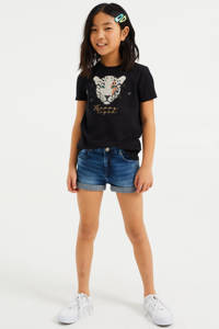 WE Fashion T-shirt met printopdruk en borduursels zwart, Zwart