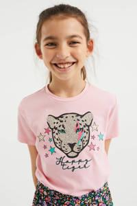 WE Fashion T-shirt met printopdruk en borduursels lichtroze, Lichtroze