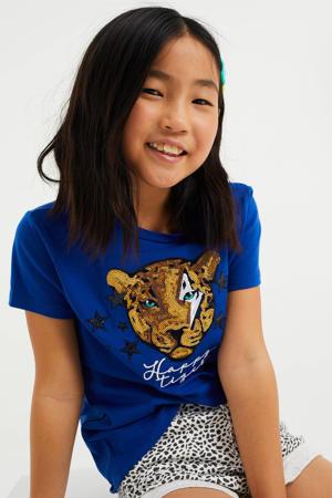 T-shirt met printopdruk en pailletten blauw/goud/zwart