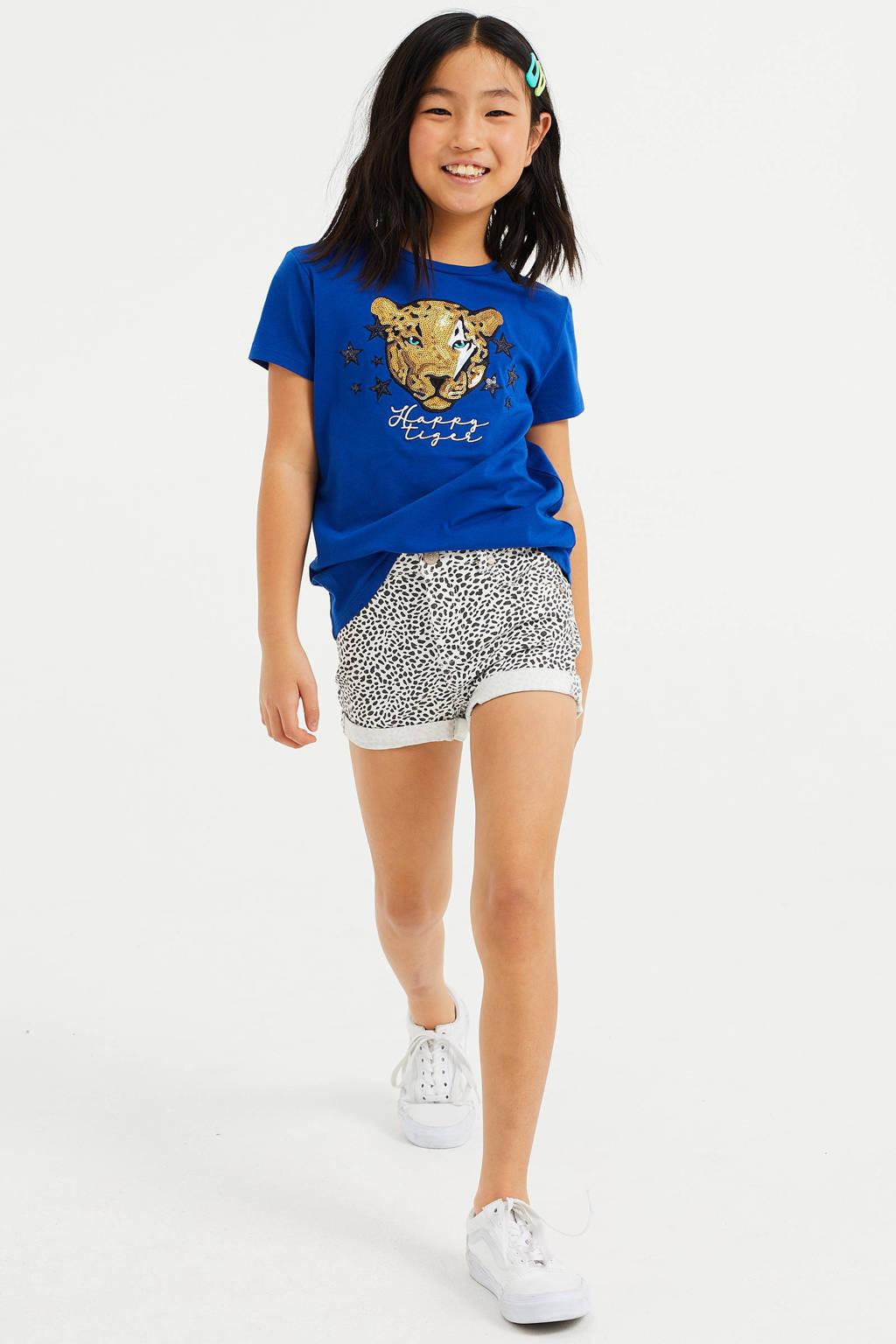 WE Fashion T-shirt met printopdruk en pailletten blauw/goud/zwart, Blauw/goud/zwart