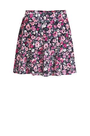 gebloemde rok zwart/paars/roze
