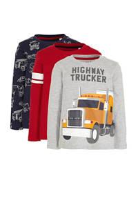 C&A Palomino sweater - set van 3 donkerblauw/rood, Donkerblauw/rood/grijs