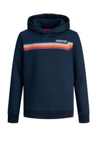 JACK & JONES JUNIOR hoodie Tylers met logo blauw, Donkerblauw/oranje