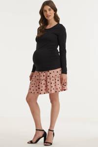 wehkamp zwangerschapslongsleeve met plooien zwart, Zwart