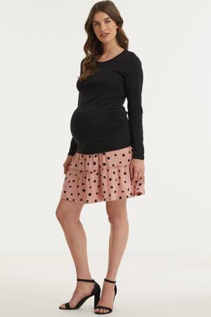 zwangerschapslongsleeve met plooien zwart