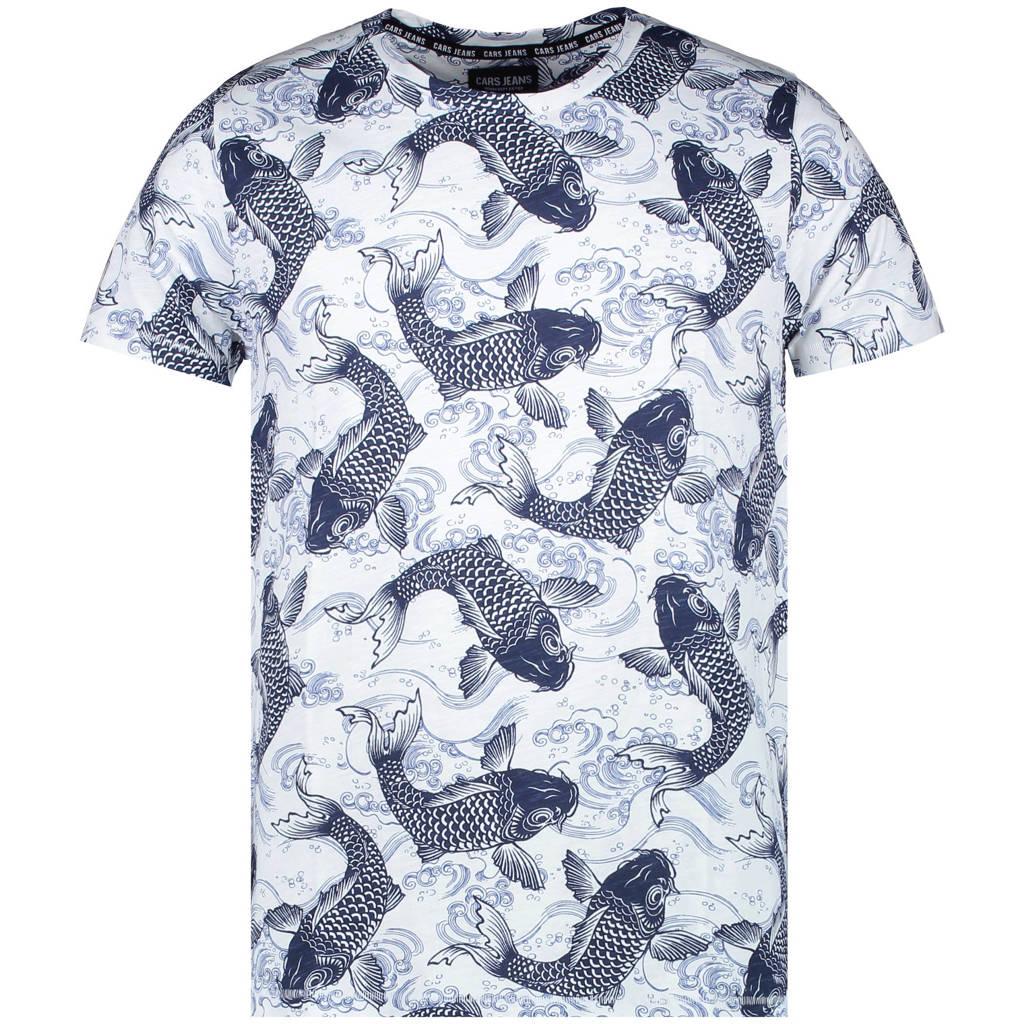 Cars T-shirt Fish van biologisch katoen wit/donkerblauw, Wit/donkerblauw