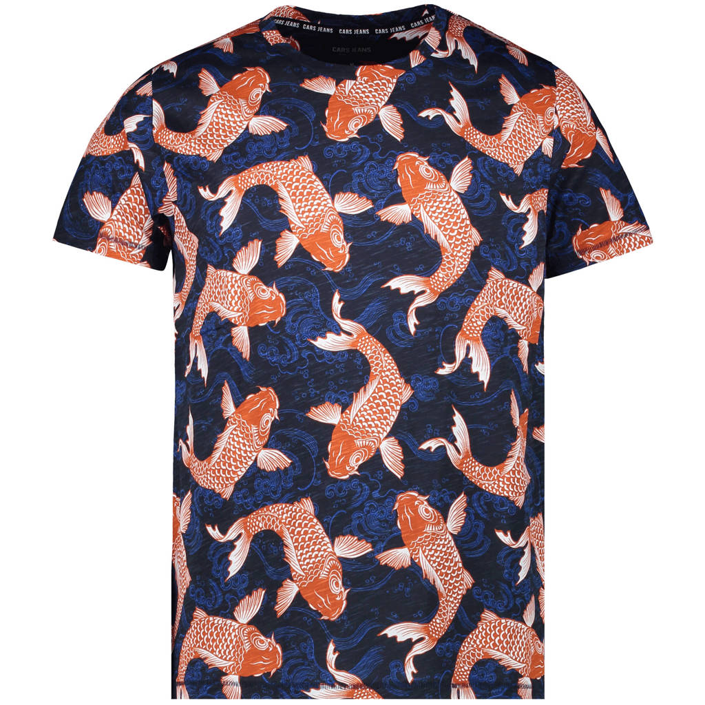 Cars T-shirt Fish van biologisch katoen donkerblauw/oranje, Donkerblauw/oranje