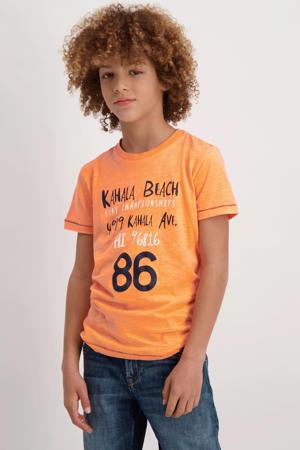 T-shirt Zunter met printopdruk neon oranje