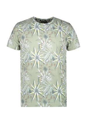 T-shirt Lerry met bladprint olijfgroen/lichtgroen