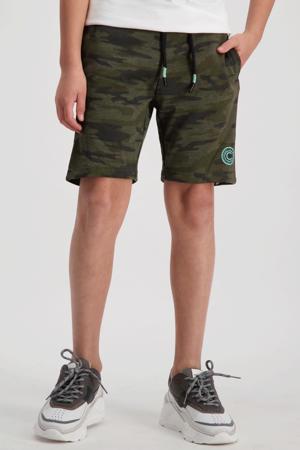regular fit sweatshort Alleck met camouflageprint donkergroen/groen