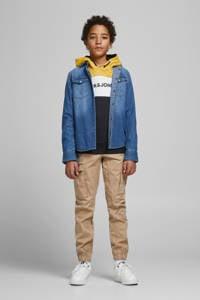 JACK & JONES JUNIOR hoodie JJELOGO met logo geel/donkerblauw/wit, Geel/donkerblauw/wit