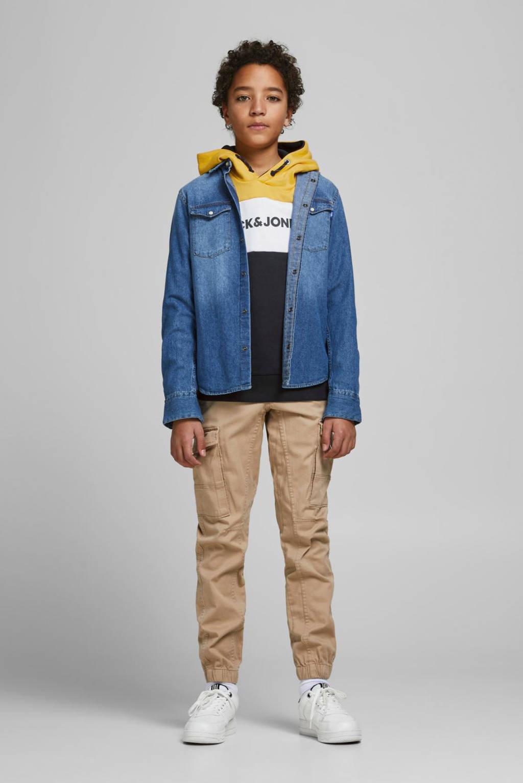 JACK & JONES JUNIOR hoodie Logo met logo geel/donkerblauw/wit, Geel/donkerblauw/wit