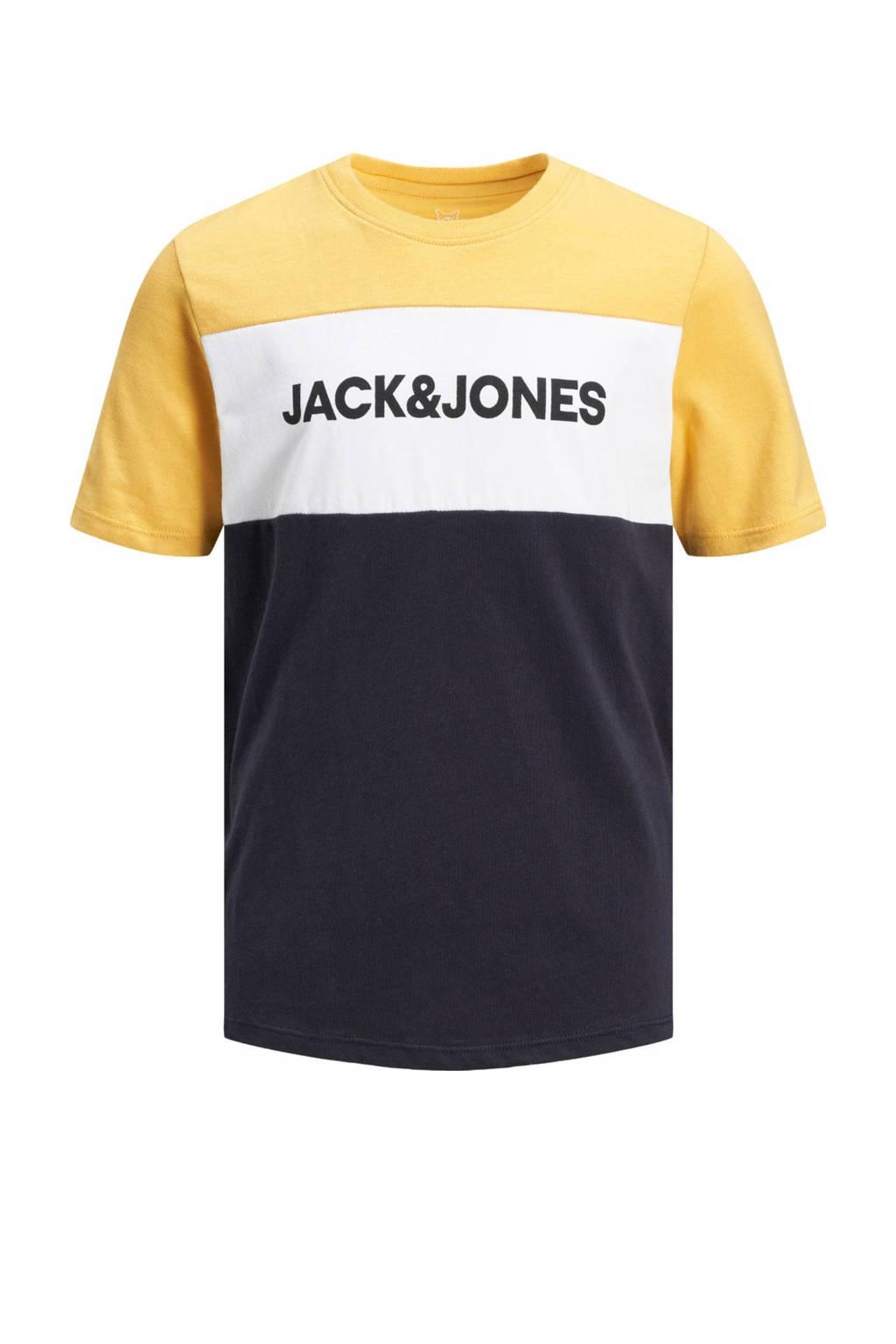 JACK & JONES JUNIOR T-shirt met logo geel/donkerblauw, Geel/donkerblauw