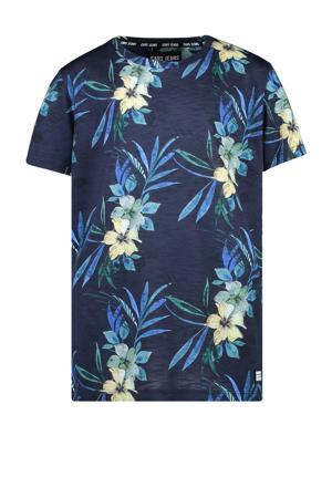 gebloemd T-shirt Leon donkerblauw/geel