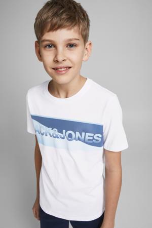 T-shirt Jenson van biologisch katoen wit/blauw
