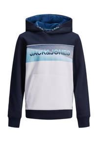 JACK & JONES JUNIOR hoodie Jenson met logo donkerblauw/wit, Donkerblauw/wit