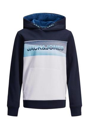 hoodie Jenson met logo donkerblauw/wit