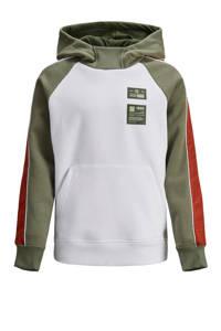 JACK & JONES JUNIOR hoodie Spec wit/olijfgroen/roestbruin, Wit/olijfgroen/roestbruin
