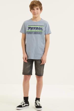 T-shirt met logo lichtblauw/neon groen