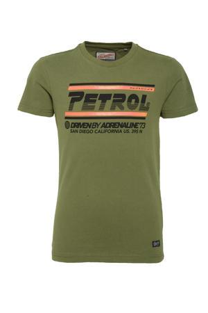 T-shirt met logo army groen