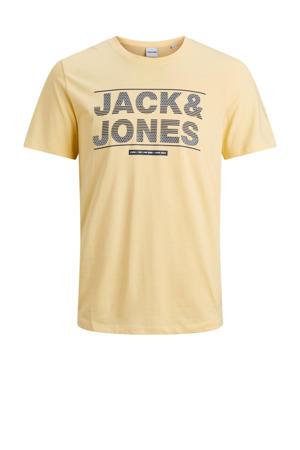 T-shirt Mount met logo lichtgeel/zwart