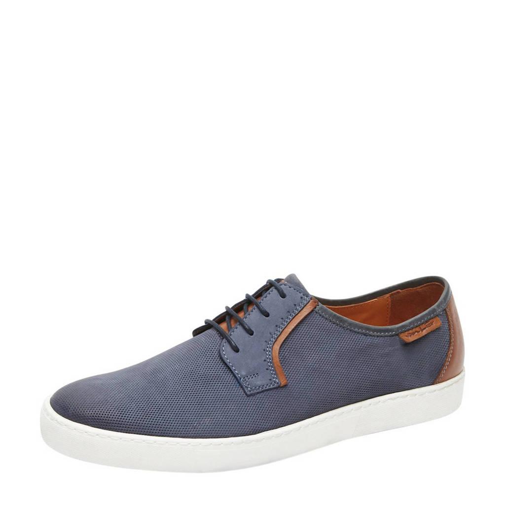 Van Lier Quatro  nubuck sneakers blauw, Blauw/bruin