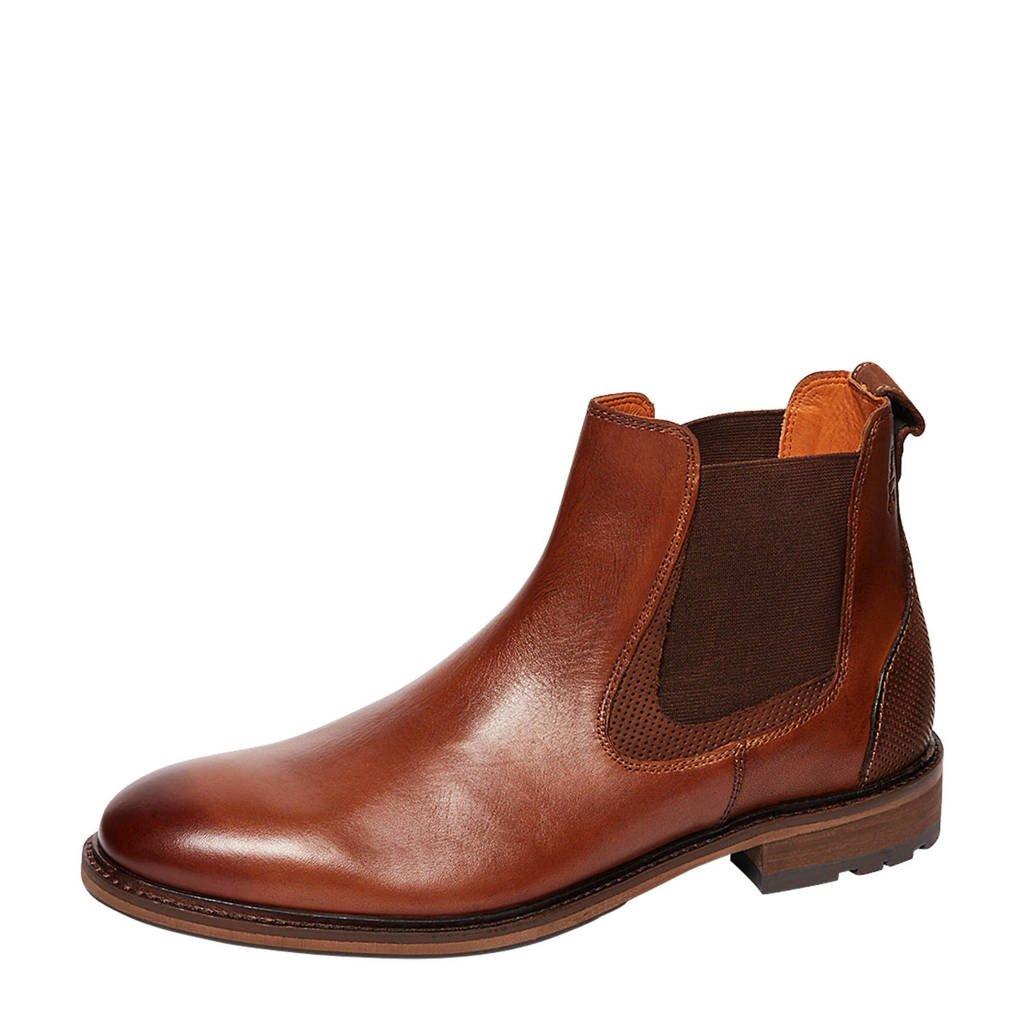 Van Lier Henry  leren chelsea boots cognac, Cognac