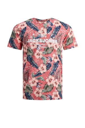 T-shirt Pop met printopdruk koraalrood/donkerblauw/wit