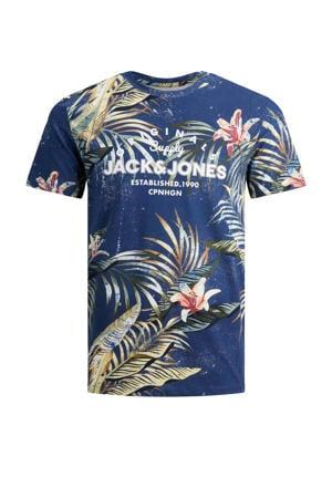 T-shirt Pop met printopdruk donkerblauw