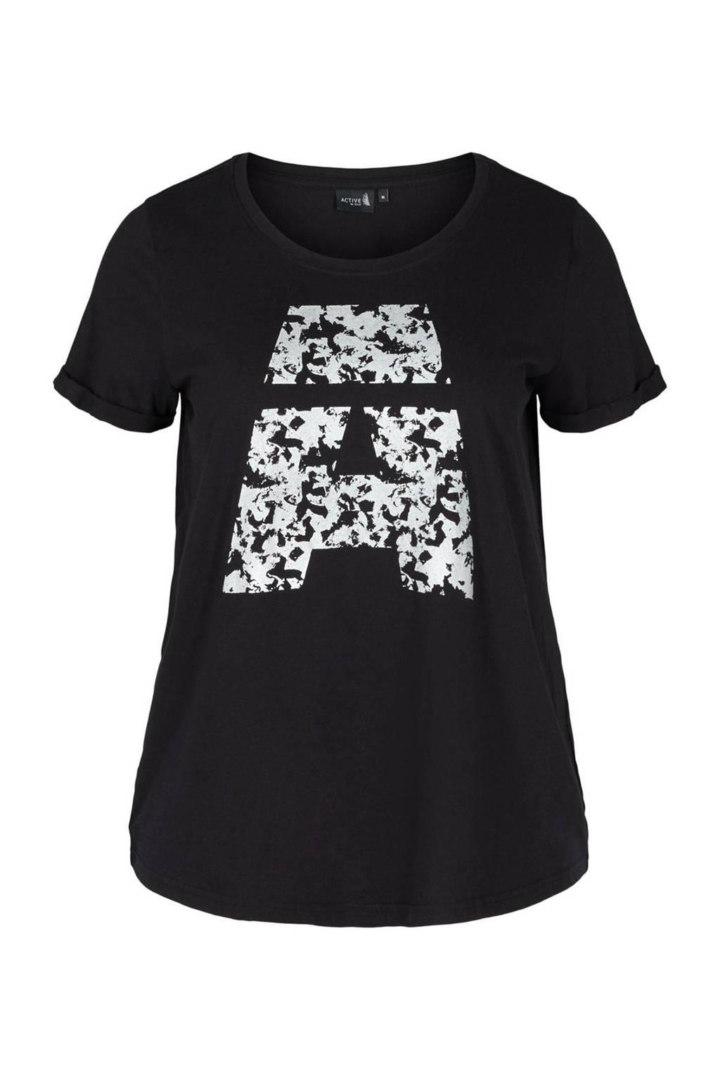 ACTIVE By Zizzi sport T-shirt zwart, Zwart/wit