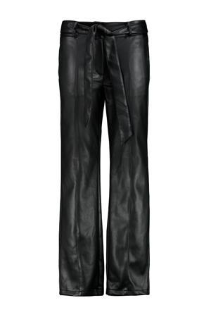 imitatieleren straight fit broek zwart
