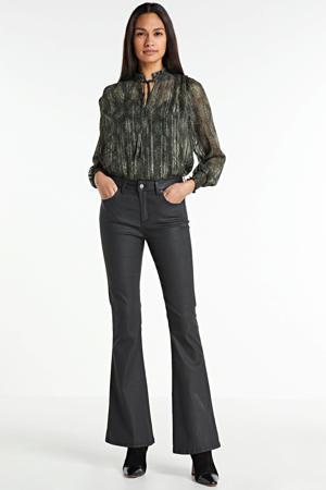 coated flared broek Raval-16 zwart