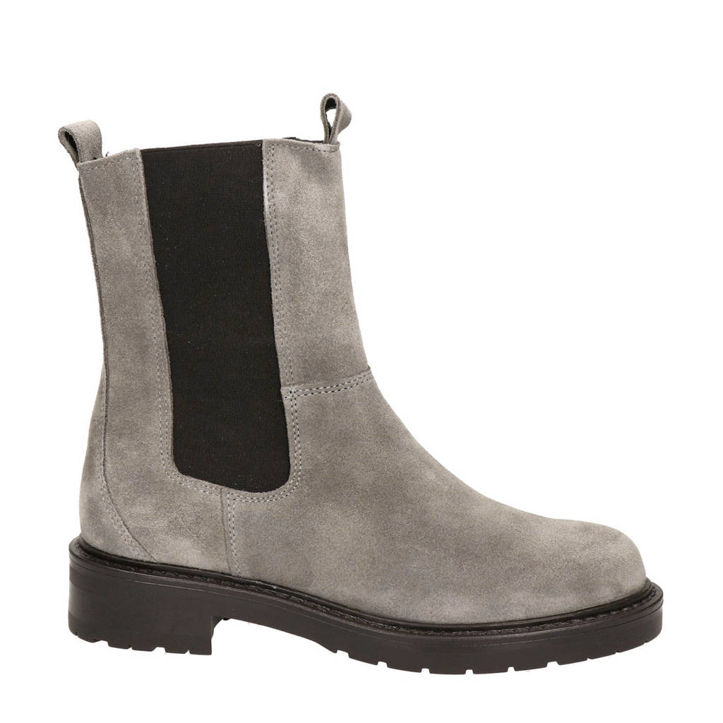Nelson   hoge suède chelsea boots taupe, Taupe/grijs